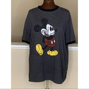 Disney Mickey Mouse Distressed T Shirt Gray Large
